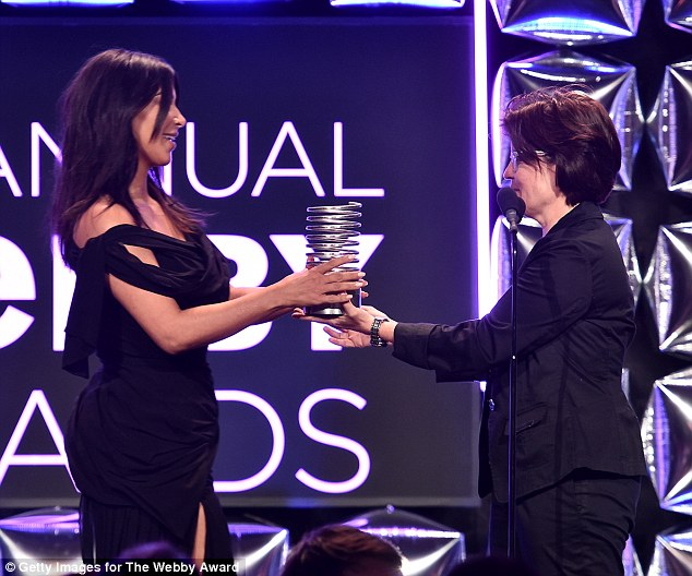 'unclad selfies until I die': Kim made a five-word acceptance speech as she was presented the award by internet commentator Kara Swisher