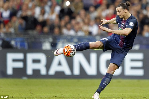 PSG star player Zlatan ibrahimovic takes a strike in what will be his last game for the French champions