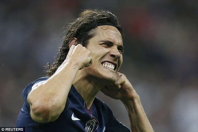 Uruguay international Cavani celebrates after scoring PSG's third goal in the French Cup final