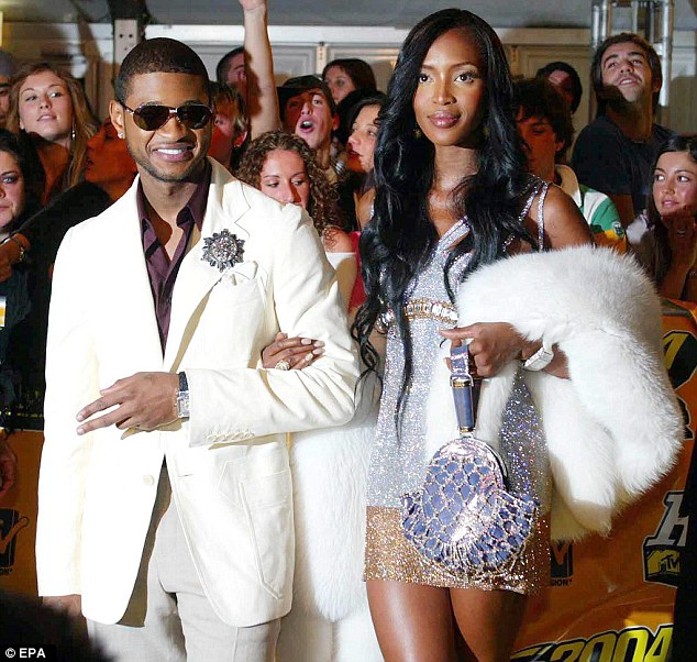 Old flames: Naomi accompanied Usher as a date top the MTV Music Awards in November 2004