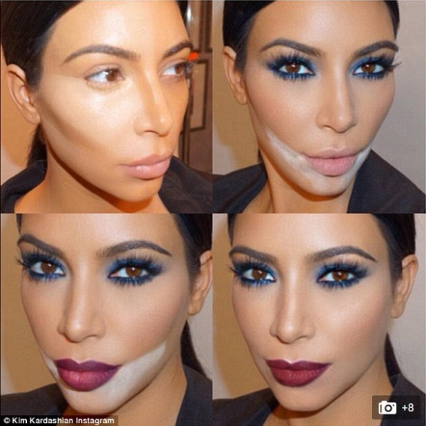 In August 2015, Kim posted this dramatic collage of her extensive make-up routine featuring contouring, dark red lips and blue smoky eyes. The star now says she is trying to wear less make-up