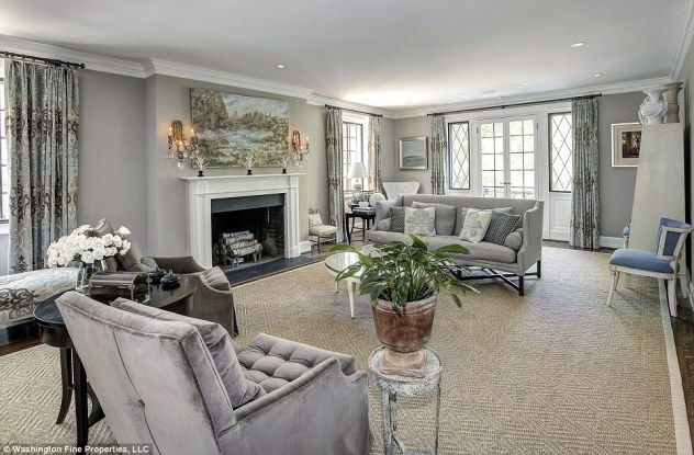 Salon: The bright living room occupies much of the ground floor and has a classic yet more modern feel to the apartments at the White House