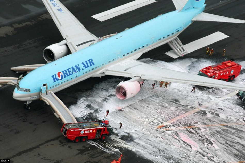 Korean Air (pictured) was forced to evacuate 319 passengers and crew from an aircraft after an engine fire broke out, an airport official said