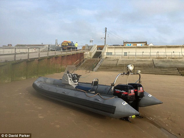 The rhib (pictured), had 20 people on board - 18 Albanians and two Brits - and was found at 2am, The matter was handed over to Home Office Immigration Enforcement