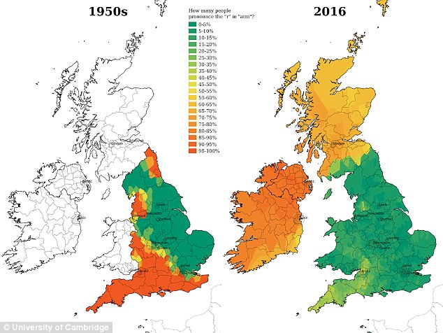 The researchers, who compared the responses given by 30,000 people in the UK to a survey conducted in the 1950s, found even the way words like arm are pronounced have changed with many more people now dropping the 'r' compared to 60 years ago when it was common for it to be pronounce ion the south of England