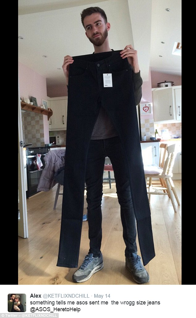 Twitter user Alex also thought he got the wrong order in May and wrote: 'Something tells me asos sent me the wrong size jeans @ASOS_HeretoHelp (sic.)'