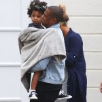 Beyonce & Blue Ivy Spotted In Matching Headgear