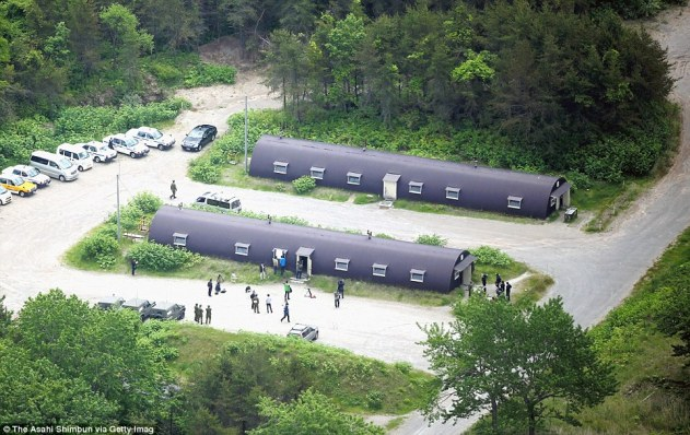 Anaerial image of the dormitory buildings at the Ground Self-Defense Force Komagatake exercise area where Yamato was found on Friday