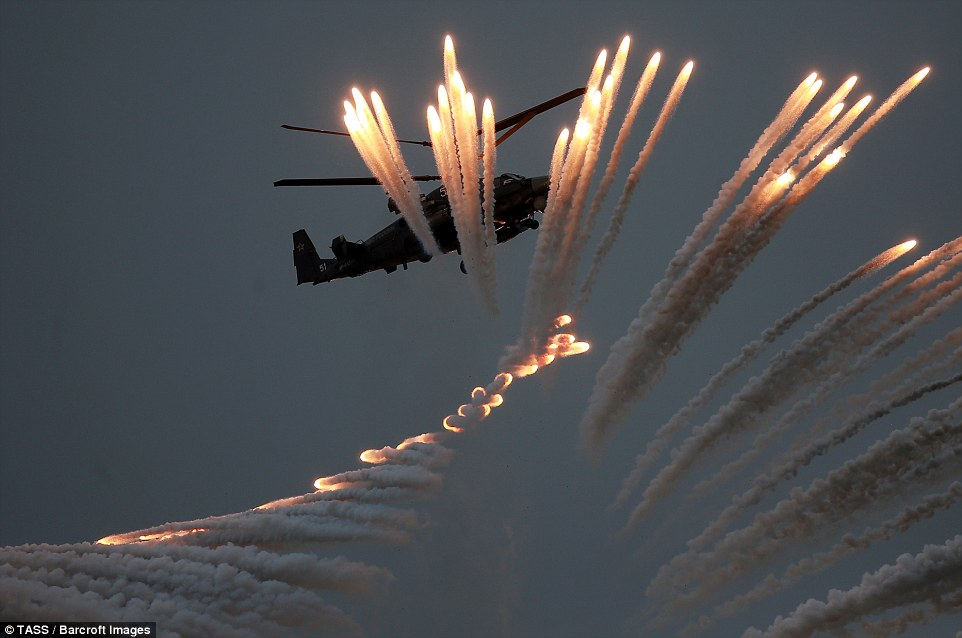 This year's competition, which is designed to test flight skills and precision shooting, is being held at Chauda testing ground in the eastern part of the Crimean peninsula