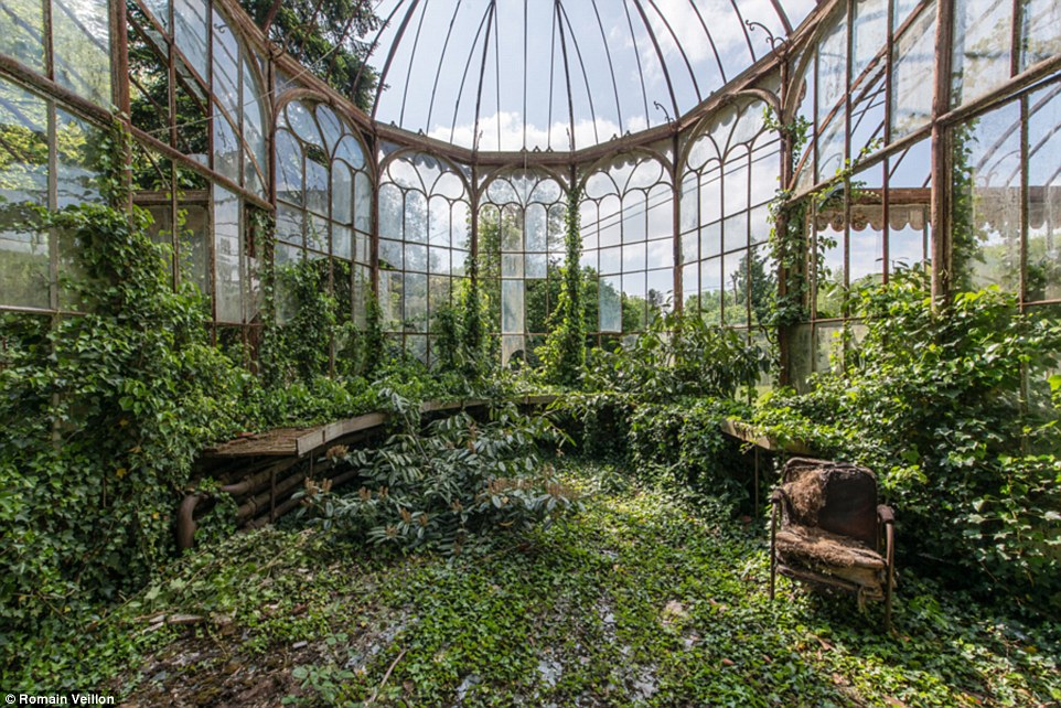 Vegetation has taken over this abandoned conservatory at a property in Belgium. Veillon's new book is called Ask the Dust