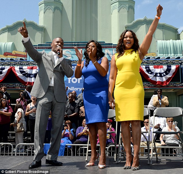In support:The actor was joined by Garcelle Beauvais (R), Star Jones (C), Tatyana Ali and Kareem Abdul-Jabbar at Leimert Park Village Plaza
