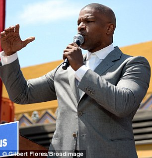 Focused: The 48-year-old hit the stage at the South Los Angeles Get Out The Vote event one day before the California presidential primary election