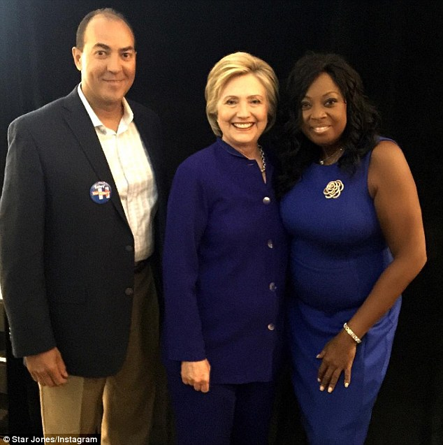 Strike a pose: Star posted a picture with Hillary Clinton to her Instagram on Monday, writing: 'Working hard to make #hillaryclinton #potus #madampresident #44boysisenough'