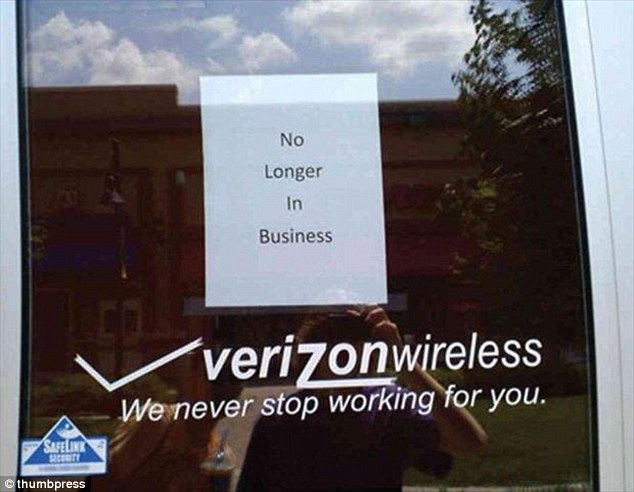 Verizon's slogan of 'We never stop working for you' proved to be very ironic when this store went out of business