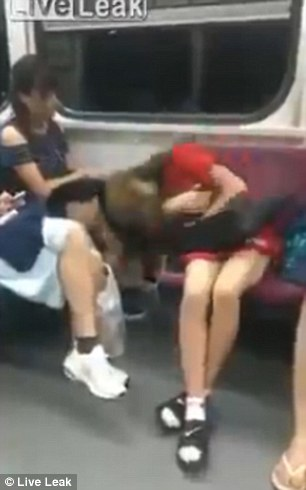baby chair seat personalized director liveleak video shows girl fall off while sleeping on the subway | daily mail online