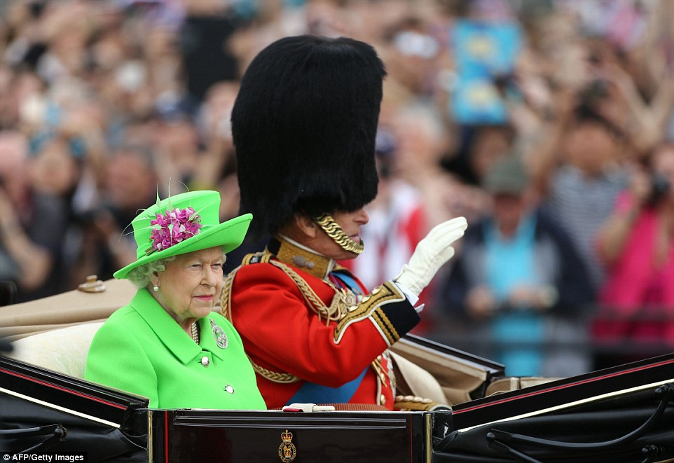 The Queen in Green: The monarch appeared dressed in near neon green alongside Prince Philip in an open top carriage to begin the Trooping the Colour ceremony