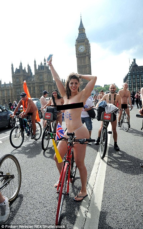 Dare to bare: Hundreds of cyclists stripped off to ride through the streets of London in protest against car culture