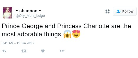 Twitter users gushed over Princess Charlotte
