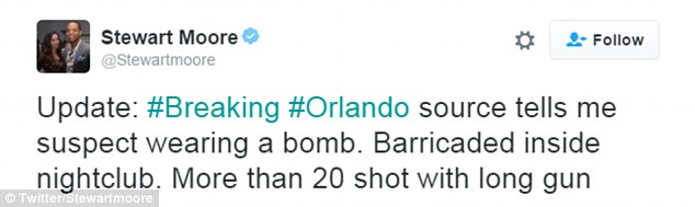 TV reporter Stewart Moore reported from the scene outside the nightclub in Orlando