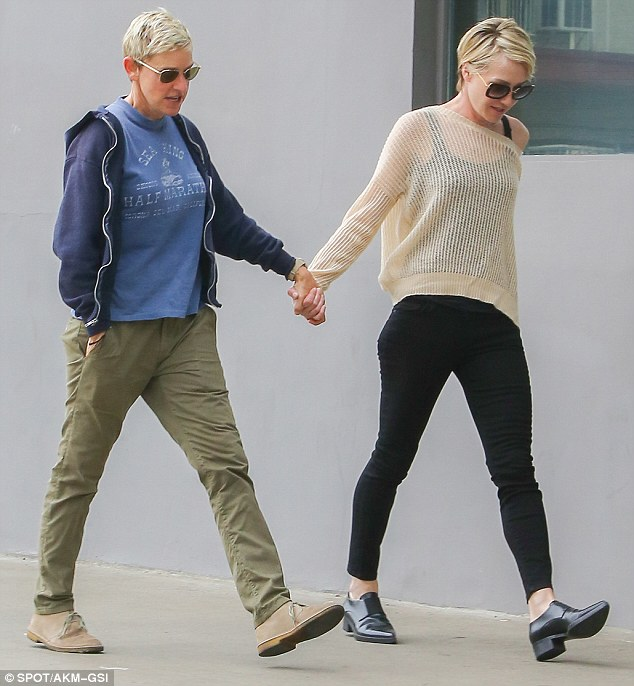 Ellen DeGeneres holds on tight to wife Portia de Rossi as they head to lunch  Daily Mail Online