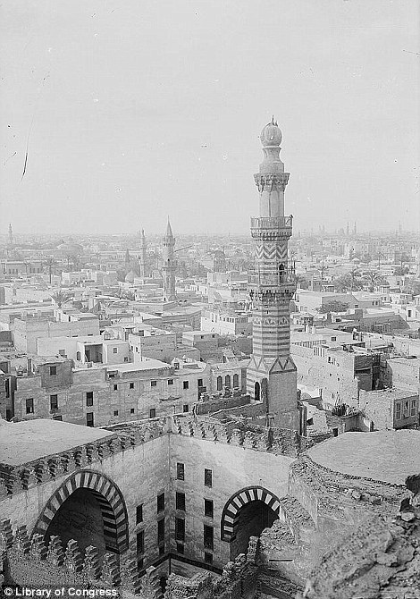 The view Mosque of Ibn Touloun, captured in 1900