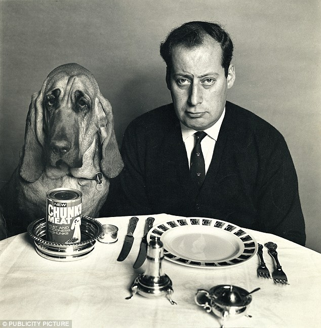 Clement Freud, pictured with his dog Henry filmed several TV adverts in the 1970s for dog food