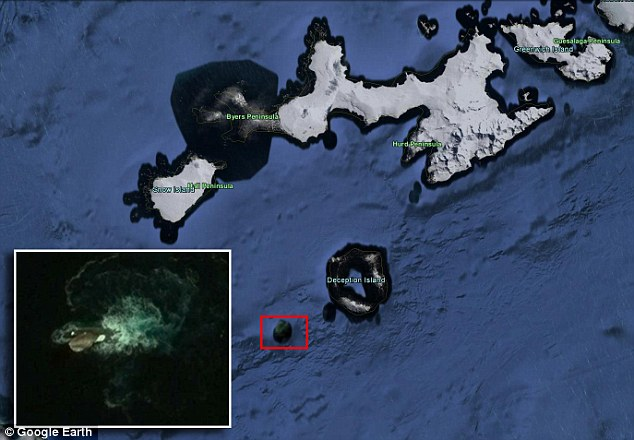 "The sighting occurred on April 9, 2016, when Waring looked at the coordinates 63° 2'56.73""S 60°57'32.38""W in Google Earth, which is off the coast of Deception Island near Antarctica ¿ although it is not clear how or where he obtained these exact coordinates."
