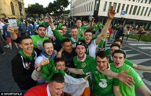 Ireland fans drinking in Bordeaux this week. The game with Belgium may now come in for greater security measures following the overnight raids