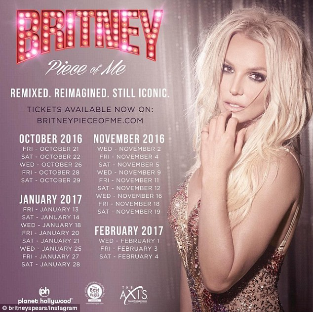 Back in business: The star took to Instagram last week to reveal that she had added 25 new dates for her popular Las Vegas residency