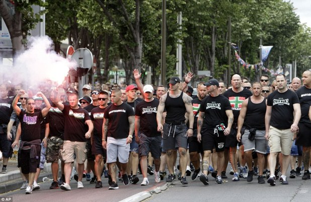 Many Hungarian fans wore black as they made their way to today's game