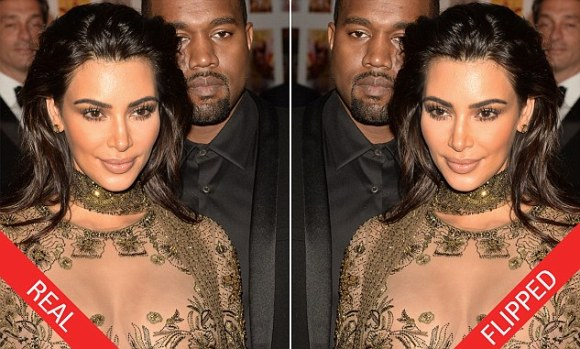 Mirror, mirror: With the number of selfies Kim Kardashian West, 35, has taken, she's probably just as used to seeing her face horizontally flipped from a forward-facing camera (right) as she is to seeing her reflection (left)