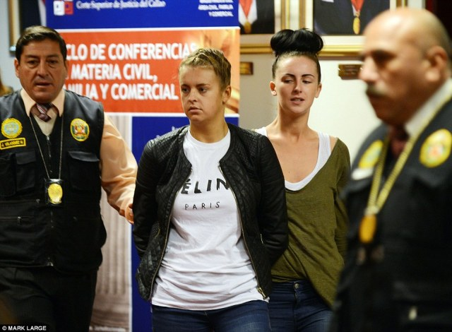 The 'Peru Two': Melissa Reid, right, was jailed alongside Michaella McCollum, left, after they were caught trying to smuggle £1.5 million of cocaine from Peru to Spain.McCollum, from Dungannon, Co Tyrone, was freed in March but was required to remain in Peru on parole