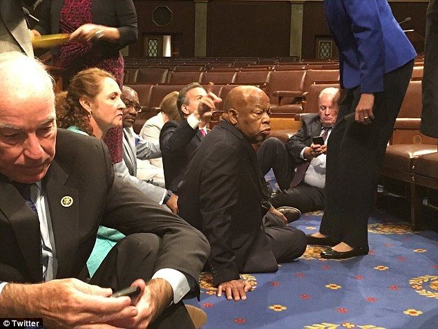 Some of the sit-in wasn't captured on camera after the House feed was cut off as C-SPAN doesn't have control of it and the House isn't technically in session