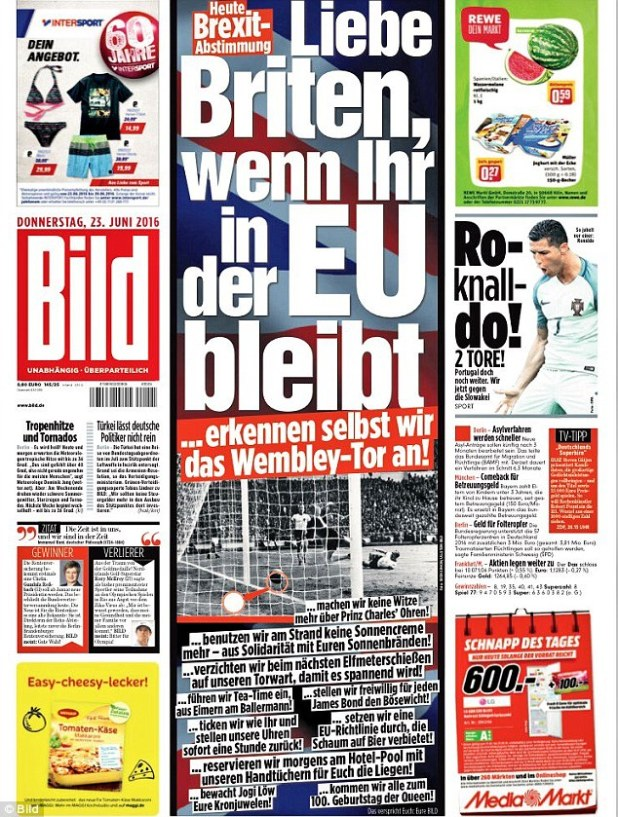 German tabloid Bild has offered 11 hilarious bribes in a bid to urge Britain to reject Brexit - even vowing to finally recognise Geoff Hurst's disputed goal in the 1966 World Cup final