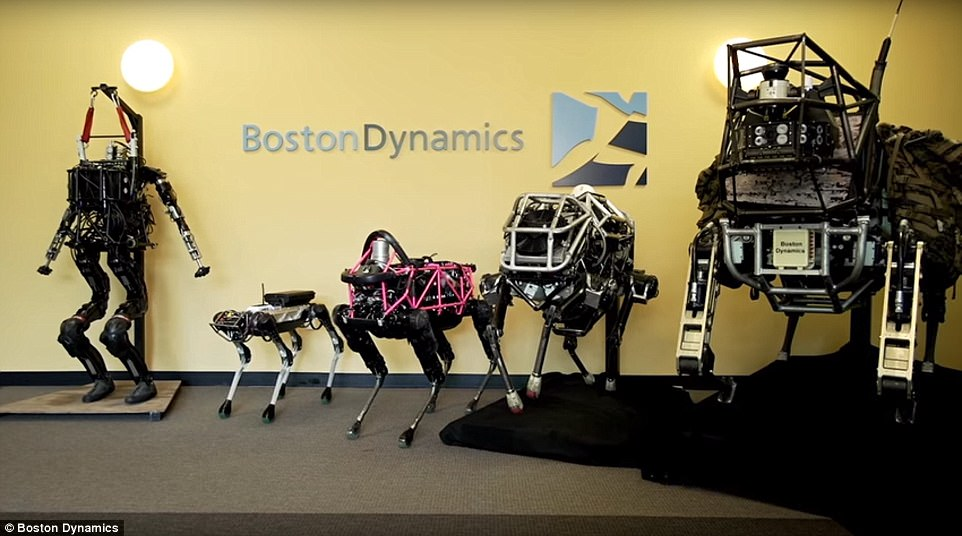 Meet the family: The new SpotMini (second from left) next to Boston Dynamics other machines.