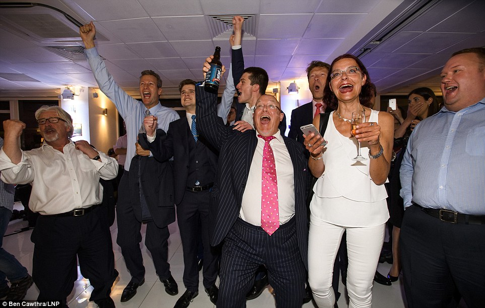 As the result in Sunderland gives Brexit a huge win, Leave campaigners in London celebrate with utter jubilation at a victory so big it indicates in the early stages that they may have the edge