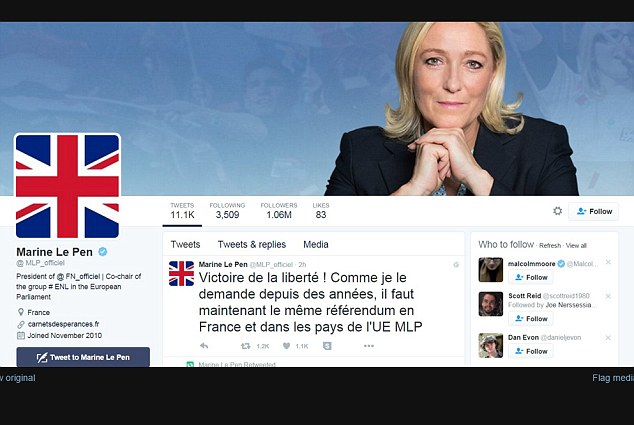 Far right: Today French far-Right leader Marine le Pen changed her twitter symbol to the Union Jack in a sign of how Brexit will increase support for the far-Right in France