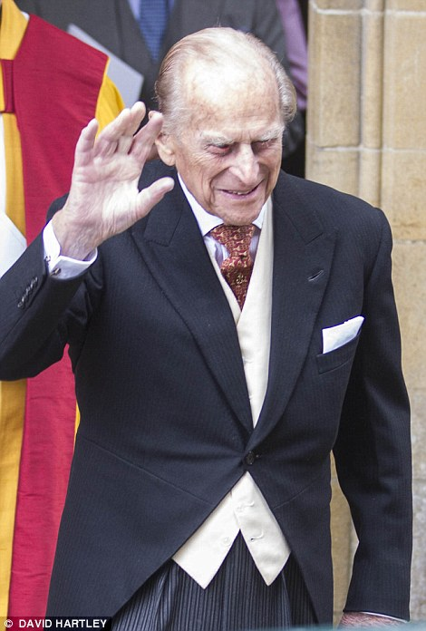Pictured, the Duke of Edinburgh waves to crowds after the wedding of Alexandra Knatchbull and Thomas Hooper