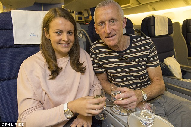Relief: One of the Peru Two drugs mules, Melissa Reid, flies home with her father Billy after her expulsion from Peru. She was arrested trying to smuggle more than a million pounds' worth of cocaine from South America