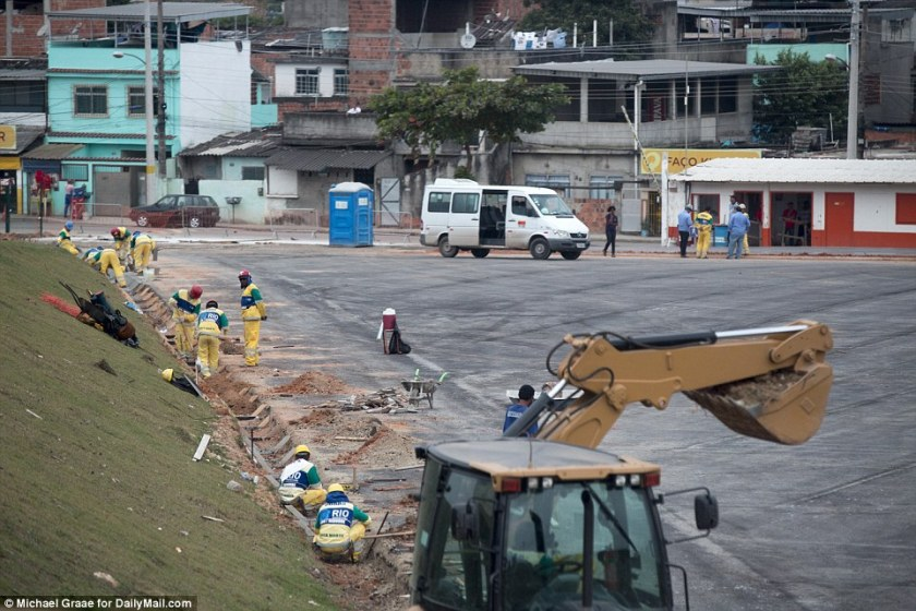 A lot to do: This parking area in the Deodoro Olympic Park remains a work in progress. Shuttle buses are a crucial part of the plans for getting people around the Games