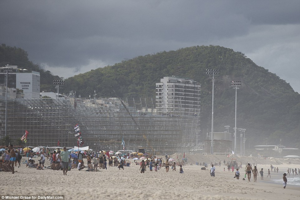 Long way to go: The beach volleyball venue on the Copacabana Beach is clearly nowhere near finished