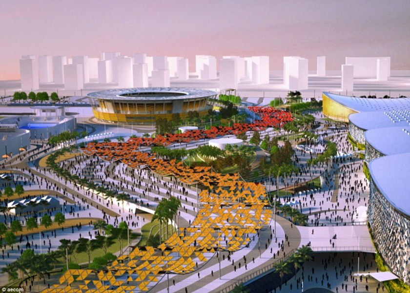 Concourse: The Olympic Way runs through the planned park at Barra in Rio but has still to emerge from the construction in reality
