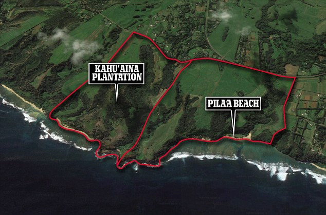 Remote: An aerial shot of the 750 acres of the Kahu'aina plantation, as well as the 393 acres of Pila'a Beach, which Zuckerberg snapped up to add to his property empire