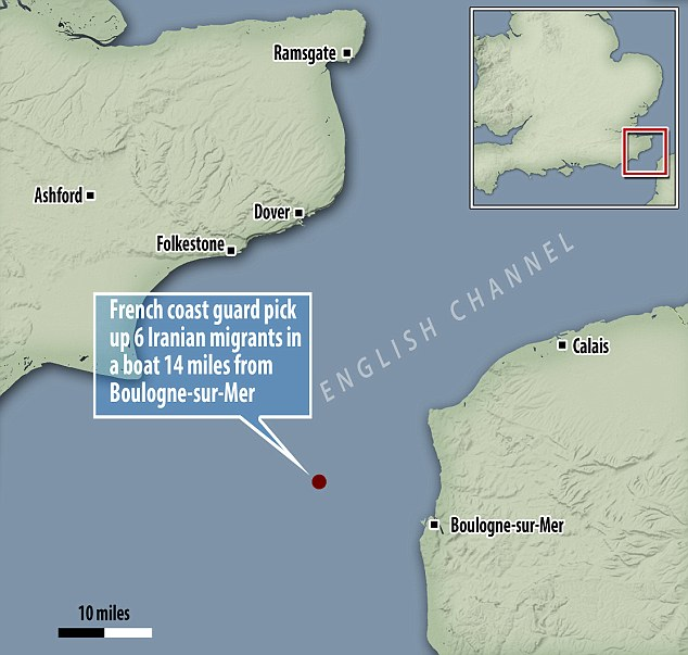 France's coastguard has intercepted six Iranian migrants trying to cross into the UK. The vessel was first spotted by a British pleasure boat fourteen miles off the French coastal town of Boulogne-sur-mer, 'making its way towards the English coast,' the French maritime authority said