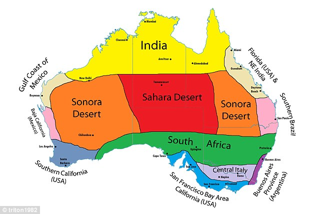 An analogue map shows how Australia's different climate zones compare to those of cities around the world