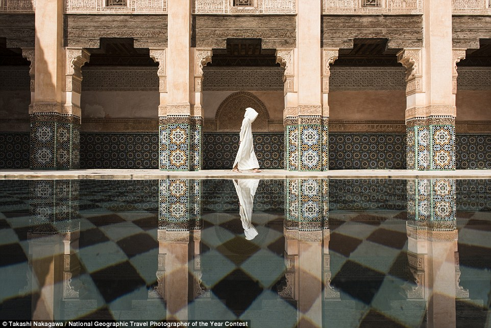 Takashi Nakagawa: Even though there were a lot of people in Ben Youssef, still here was more quiet and relaxing compare to the street outside in Marrakesh. I was waiting for the perfect timing to photograph for long time.