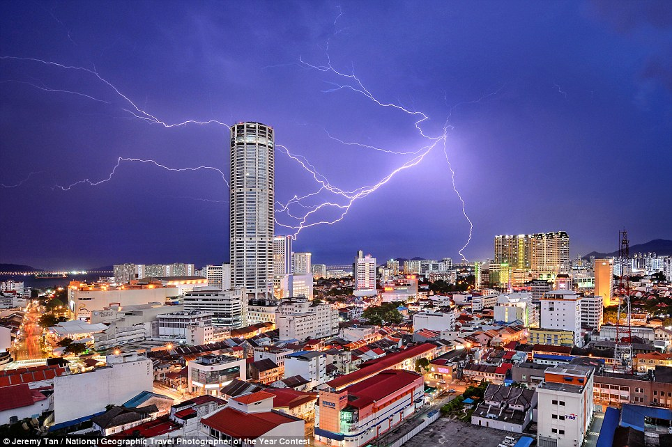 Celestial Reverie by Jeremy Tan, who said: 'Lightning seemingly strikes Komtar Tower, the most iconic landmark of George Town, capital of Penang state in Malaysia. It is symbolic of the rejuvenation that the city, famous for a unique blend of centuries-old buildings and modern structures, has enjoyed in recent years. While many of its old neighbourhoods fell into neglect in the 1990s and early 2000s, UNESCO World Heritage listing in 2008 sparked a transformation, and today, they are all part of a vibrant tourist destination.'