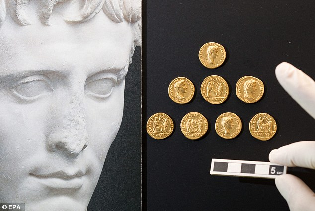 The coins featured images of the Emperor Augustus, with the imperial princes Gaius and Lucius Caesar on the back, and all date back to a period before the ancient battle