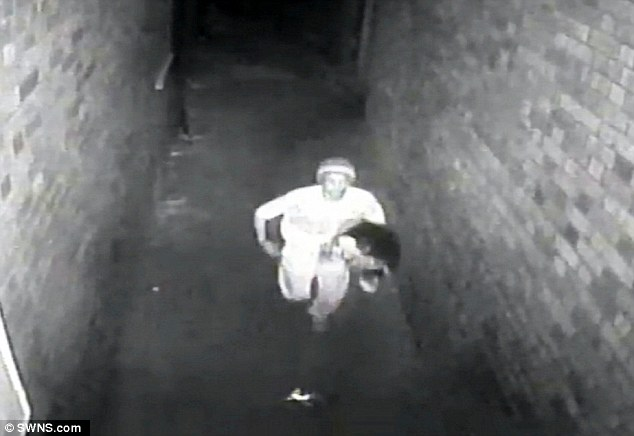Ibrahim attacked his second and third victims within six weeks of each other in 2014 - threatening one with a Stanley knife and the other with pliers and a screwdriver. He is pictured fleeing the scene of his second attack
