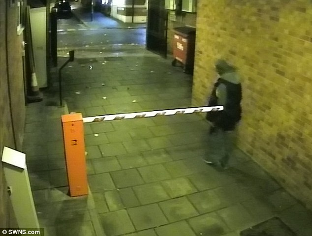 The third victim to be attacked by Ibrahim was sleeping rough when she was threatened with a pair of pliers and a screwdriver before being raped. He is pictured looking for his glasses after the brutal assault